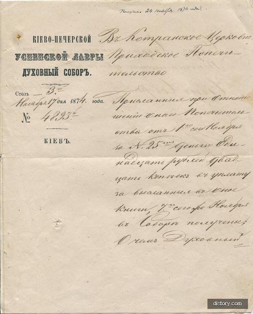 Документ Киево-Печерской Лавры от 1874 года