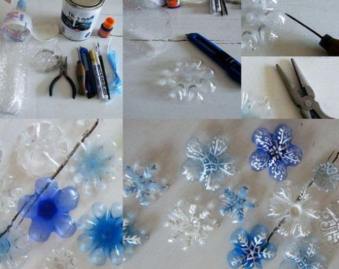Снежинки из пластиковых бутылок