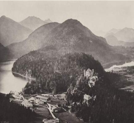 Замок Хоэншвангау. Альпийское и Лебяжбе озера. Альберт, Йозеф.1857
